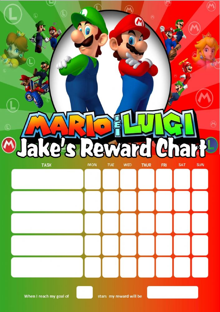personalised super mario and luigi reward chart adding